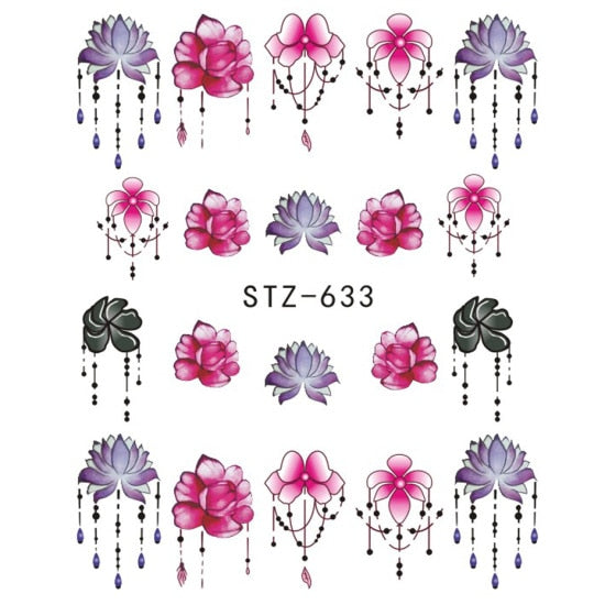1 PC Gradient Light Purple Rose Nail Art Decals - Toyzor.com
