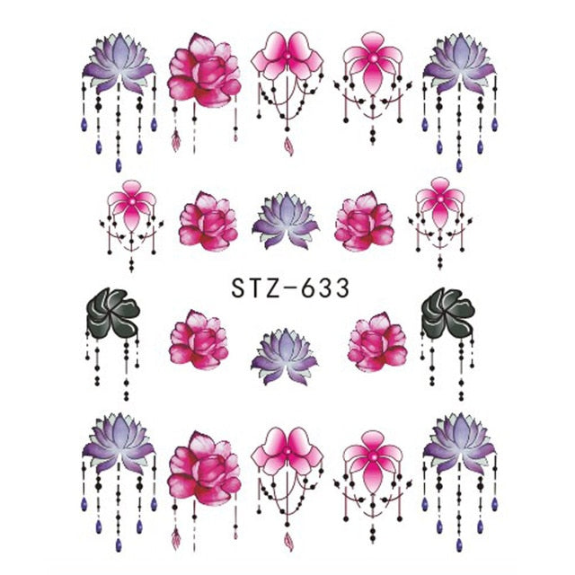 1 PC Flowers Cartoon Water Decals Nail Art Stickers - Toyzor.com