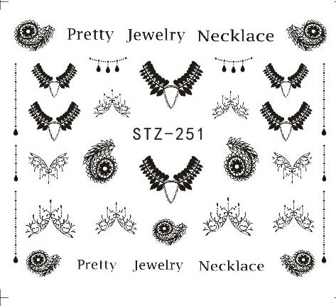 1PC Gorgeous Necklace Black Red Blue Sticker Nail Art - Toyzor.com