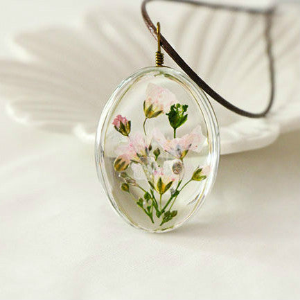 Handmade Dried Flower Time Dome Glass Necklace