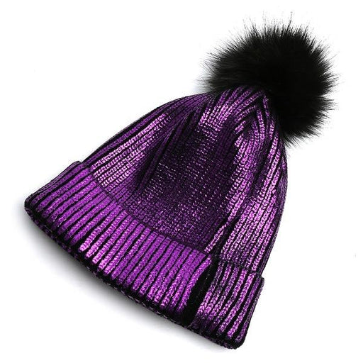 Knitted Shiny Pompom Hat - Purple