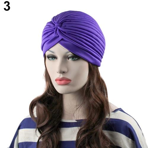 Indian Style Stretchable Pleated Turban - Purple
