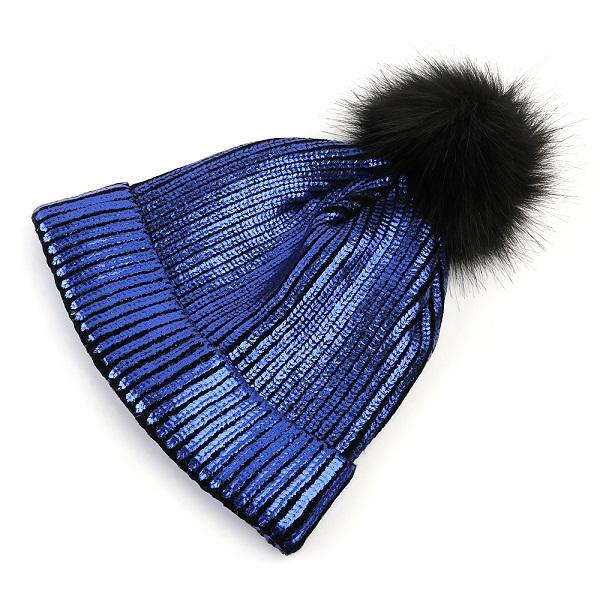 Knitted Shiny Pompom Hat - royal blue