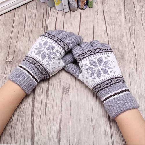 Wool Knitted Snowflakes Wrist Gloves