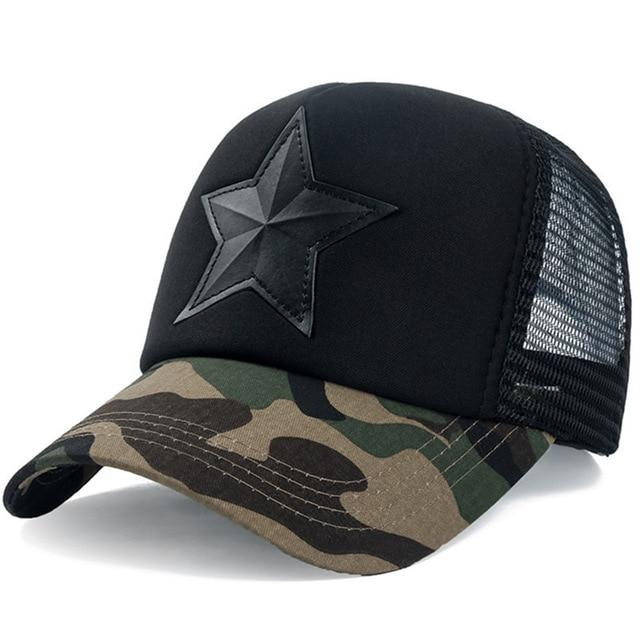 3D Five-pointed Star Embroidery Mesh Baseball Cap - Dark Camo Black / 55cm to 60cm