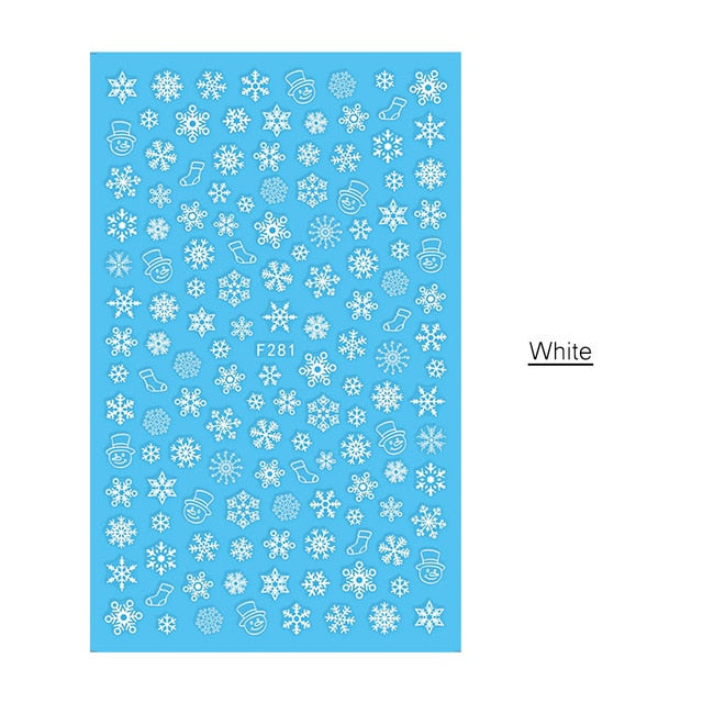 1 PC 3D Mixed Deer and Snowflake Nail Art Sticker - Toyzor.com