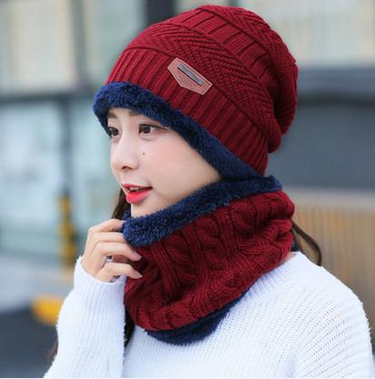Knitted Hat Scarf + Neck Warmer Fleece - Red wine