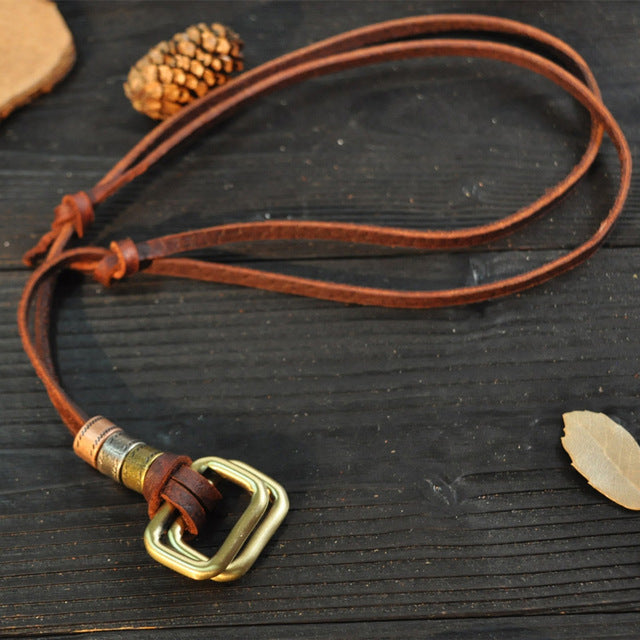 Pendants Punk Vintage Adjustable Brown Rope Chain Necklace