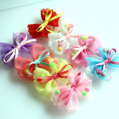 10 pieces Pet hair bows Cute Chiffon ribbon Hair Pearl Rubber bands - Toyzor.com