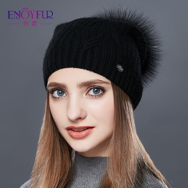 Knitted Cashmere Womens Winter Hat - 01A / one size