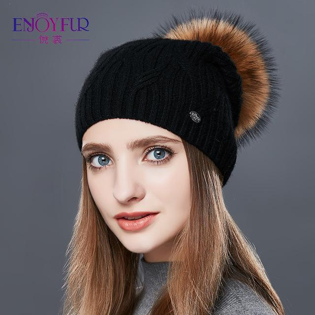 Knitted Cashmere Womens Winter Hat - 01D / one size