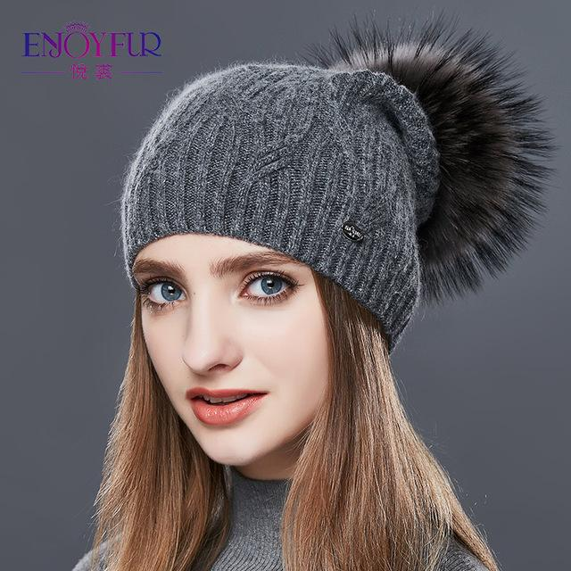Knitted Cashmere Womens Winter Hat - 03C / one size