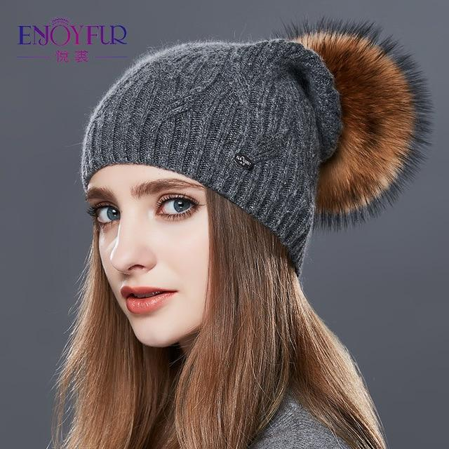 Knitted Cashmere Womens Winter Hat - 03D / one size