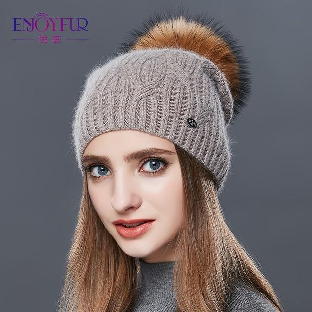 Knitted Cashmere Womens Winter Hat - 7 / one size