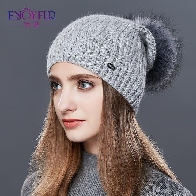Knitted Cashmere Womens Winter Hat - 8 / one size