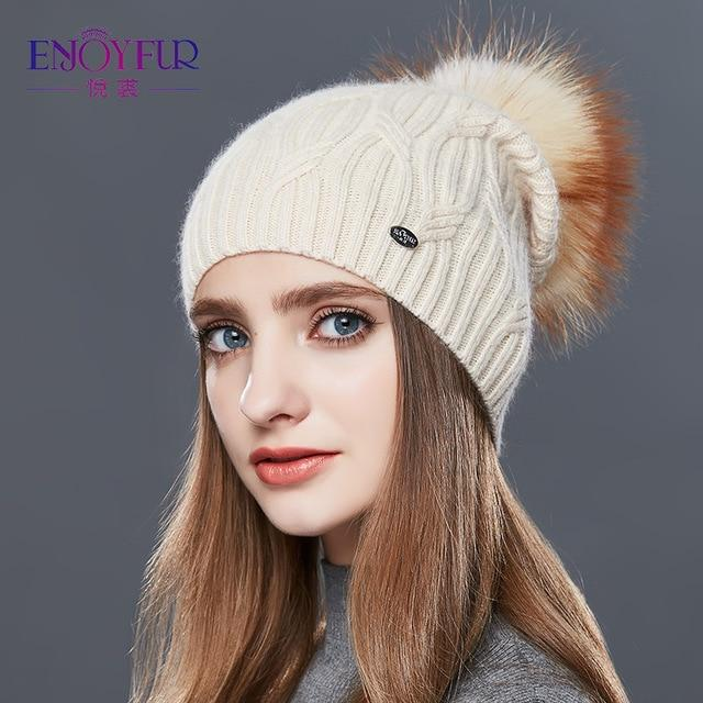 Knitted Cashmere Womens Winter Hat - 9 / one size