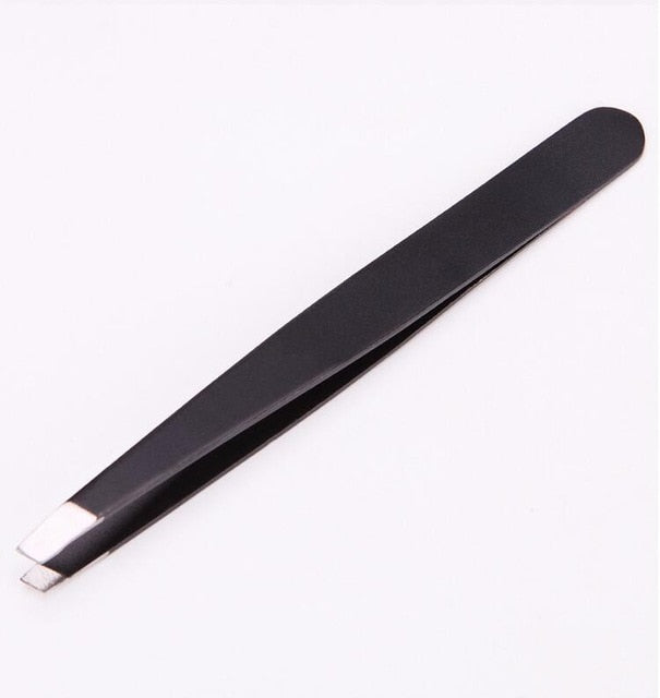 3 Pieces Eyebrow Tweezers Stainless Steel Point Tip/Slant Tip/Flat Tip Hair Removal Makeup Tool Kit with Bag Case