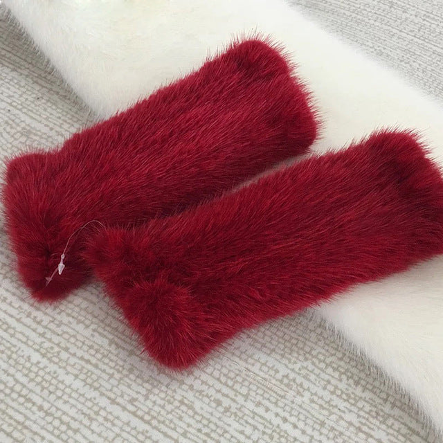 Real Mink Fur Knitted Gloves