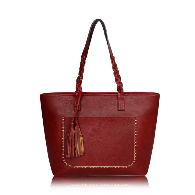 Large Capacity Leather Tote Bag With tassel