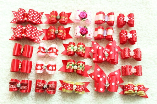 10 Pieces Hand-made Pet Hair Bows - Toyzor.com