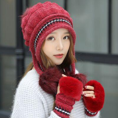 Knit Hat Toe Cap Gloves + Winter Hat - red