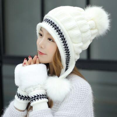 Knit Hat Toe Cap Gloves + Winter Hat - white