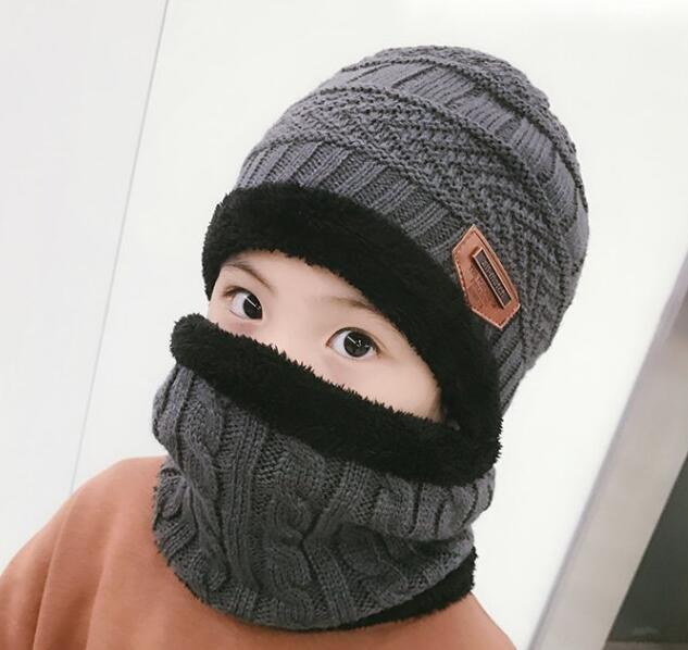 Kids Winter Warm Knitted Circle Scarf Beanies with Thicken Fleece Lining - children(48-54cm)2