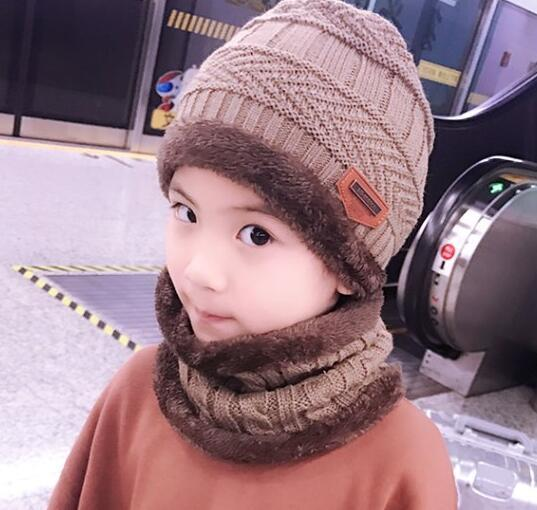 Kids Winter Warm Knitted Circle Scarf Beanies with Thicken Fleece Lining - children(48-54cm)3
