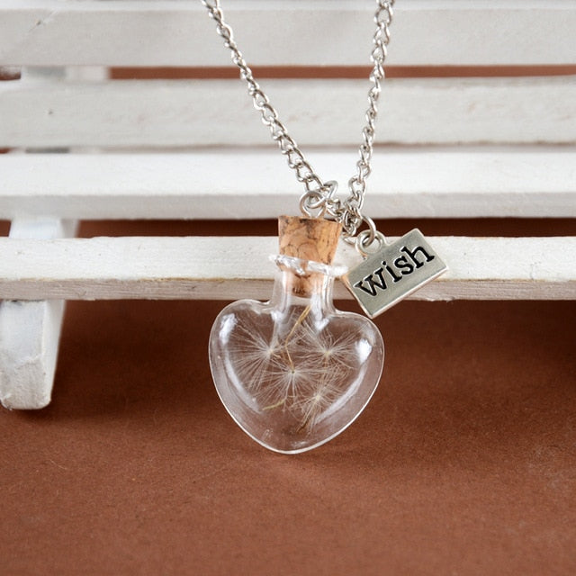 Natural dandelion seed in glass long necklace