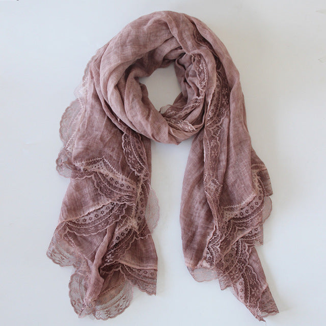 Laced Cotton Linen Scarf