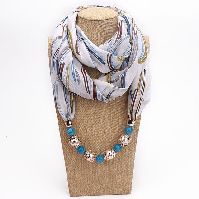 Pendant Scarf Necklace - Multiple Colors - Toyzor.com