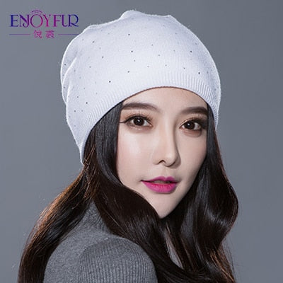 Winter Knitted Thick Wool Beanies f