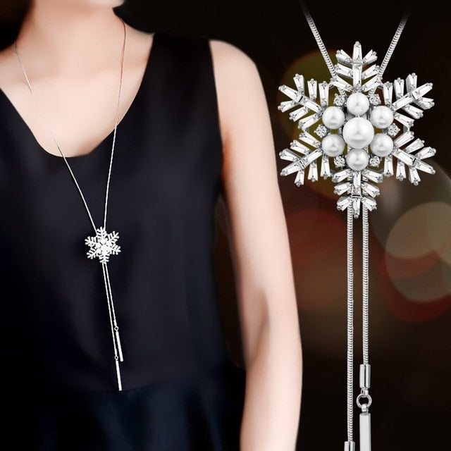 Snowflake Crystal Long Necklace