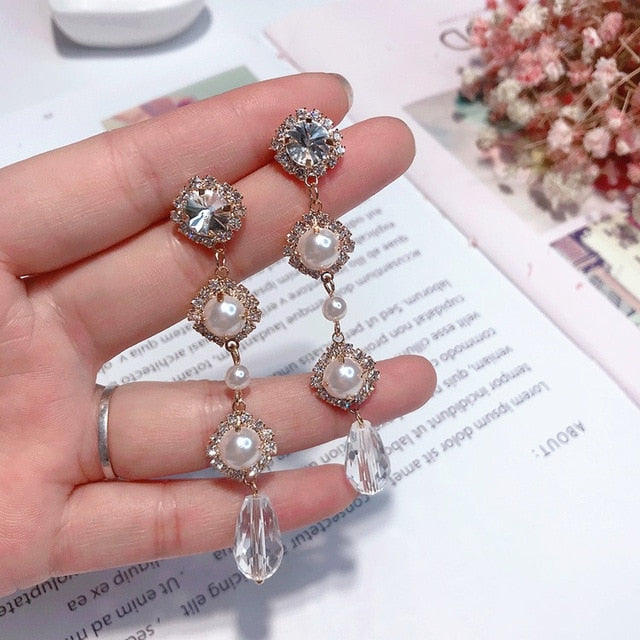 Elegant Rhinestone Crystal Long Earrings