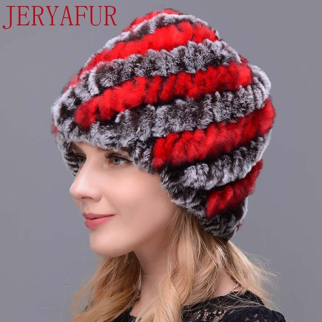 Woman's Knitted Real Rabbit Fur Hat