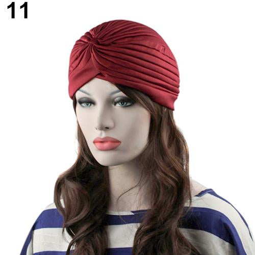 Indian Style Stretchable Pleated Turban - Claret