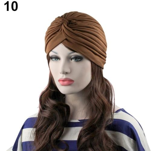 Indian Style Stretchable Pleated Turban - Coffee