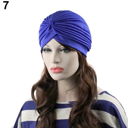 Indian Style Stretchable Pleated Turban - Blue