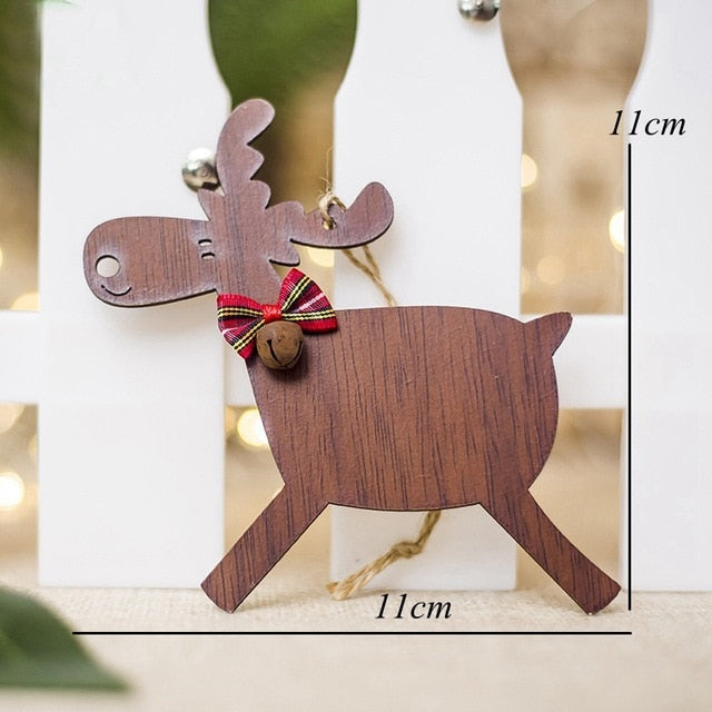 2 Types Deer Wooden Xmas Tree DIY Ornaments For Christmas Party Decoration