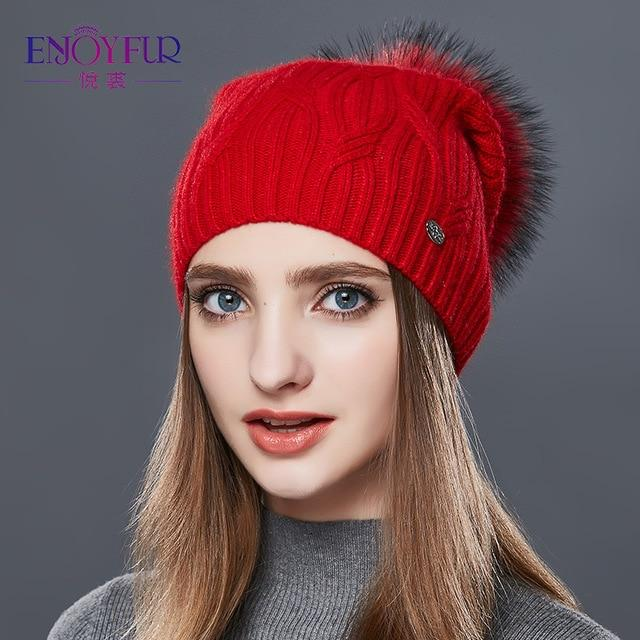 Knitted Cashmere Womens Winter Hat - 21 / one size
