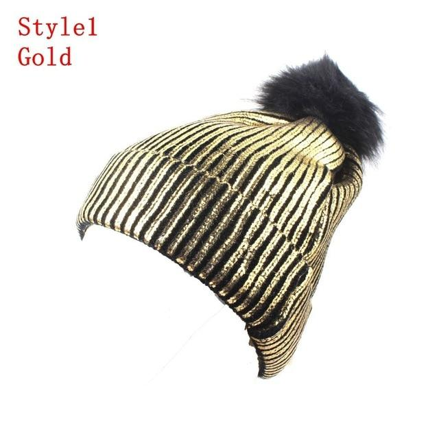 Knitted Shiny Pompom Hat - Gold