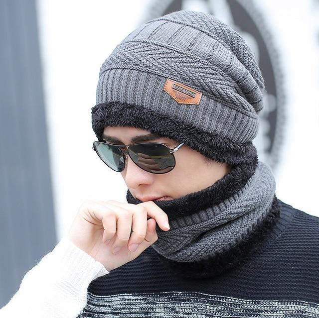 2 Pieces Ski Cap and Scarf Warm Leather Knitted Bonnet - Gray