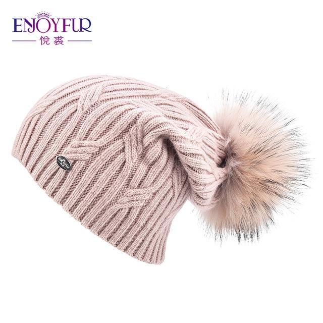 Knitted Cashmere Womens Winter Hat - 23 / one size