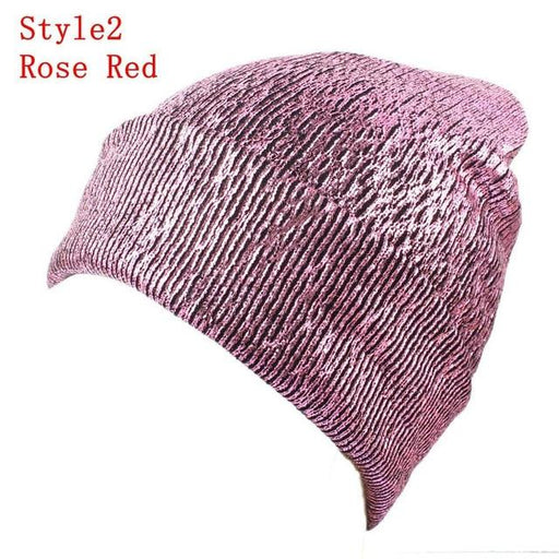 Knitted Shiny Pompom Hat - Pink