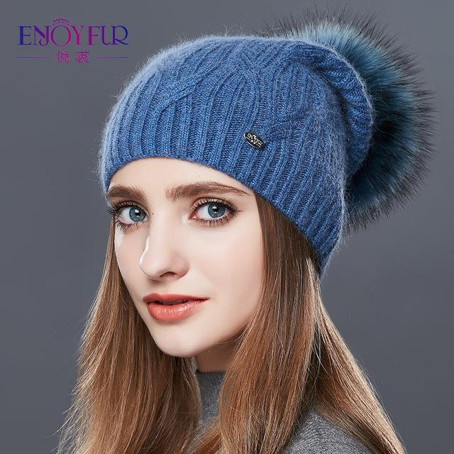 Knitted Cashmere Womens Winter Hat - 24 / one size