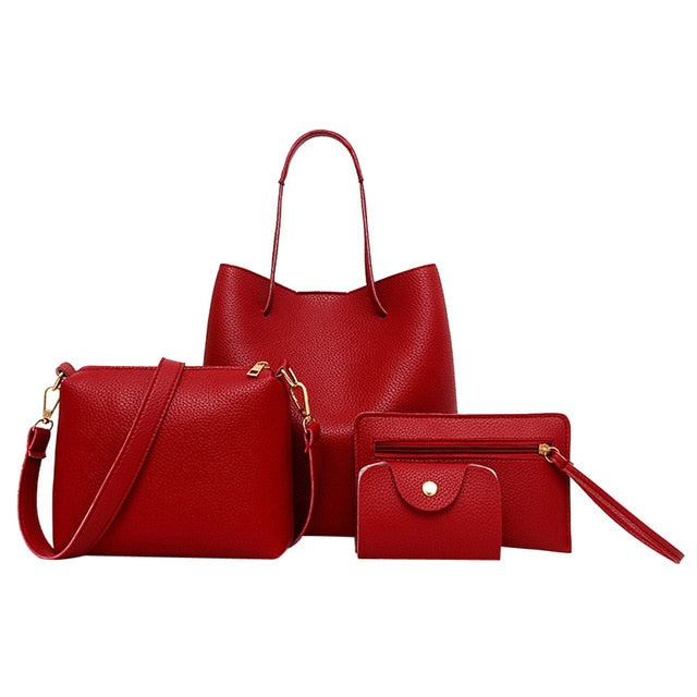 4Pcs Leather Handbag+Crossbody Bag - Toyzor.com