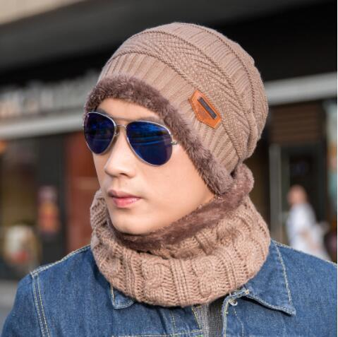 Knitted Hat Scarf + Neck Warmer Fleece - light brown