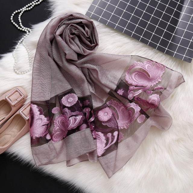 Floral Embroidered Silk Scarf