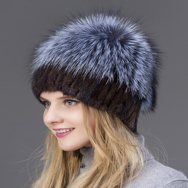 Knitted Mink with Fox Fur Top Cap - 002