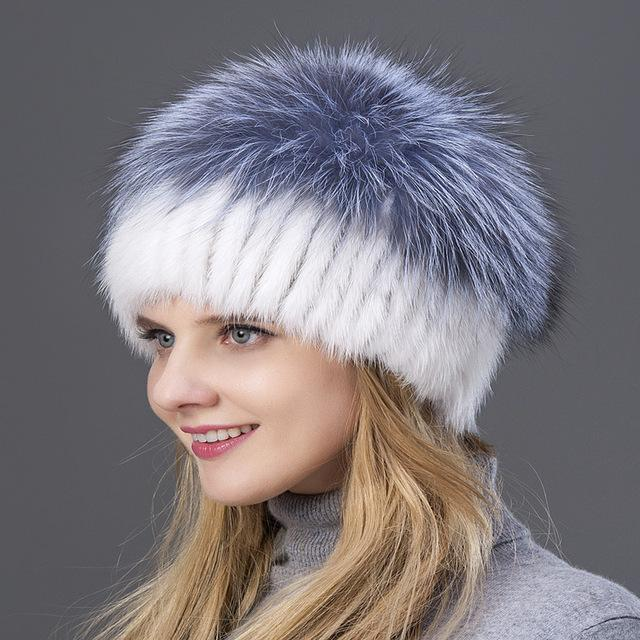 Knitted Mink with Fox Fur Top Cap - 003